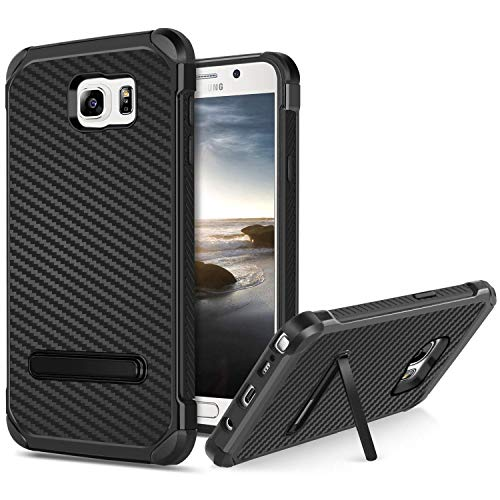 BENTOBEN Phone Case for Samsung Note 5, Case for Galaxy Note 5 with Kickstand, Hybrid Hard PC Cover Flexible TPU Bumper Chrome Carbon Fiber Texture Shockproof Protective Case for Samsung Note 5, Black