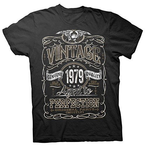 40th Birthday Gift Shirt - Vintage Aged to Perfection 1979 - Black-001-Lg