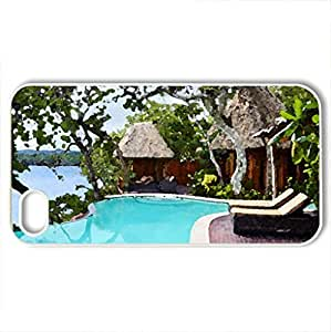 Beach Front Villa - Case Cover for iPhone 4 and 4s (Beaches Series, Watercolor style, White)