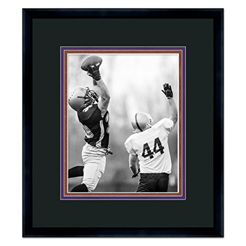 (Baltimore Ravens Black Wood Frame for a 5x7 Photo with a Triple Mat - Black , Purple, and Football Textured Mats)