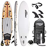 THURSO SURF Waterwalker All Around Inflatable Stand Up Paddle Board SUP 11' x 32'' x 6'' Two Layer Deluxe Package Includes Carbon Shaft Paddle/2+1 Quick Lock Fins/Leash/Pump/Roller Backpack