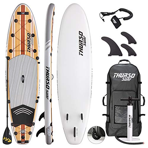 (THURSO SURF Waterwalker All-Around Inflatable Stand Up Paddle Board SUP 11' x 32'' x 6'' Two Layer Deluxe Package Includes Carbon Shaft Paddle/2+1 Quick Lock Fins/Leash/Pump/Roller Backpack (2019))