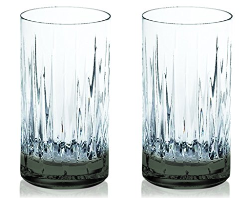 (Smoke Reed & Barton Crystal Soho Highball Glasses 13 oz. with Colored Accent -set of 2- Additional Vibrant Colors Available by TableTop King)
