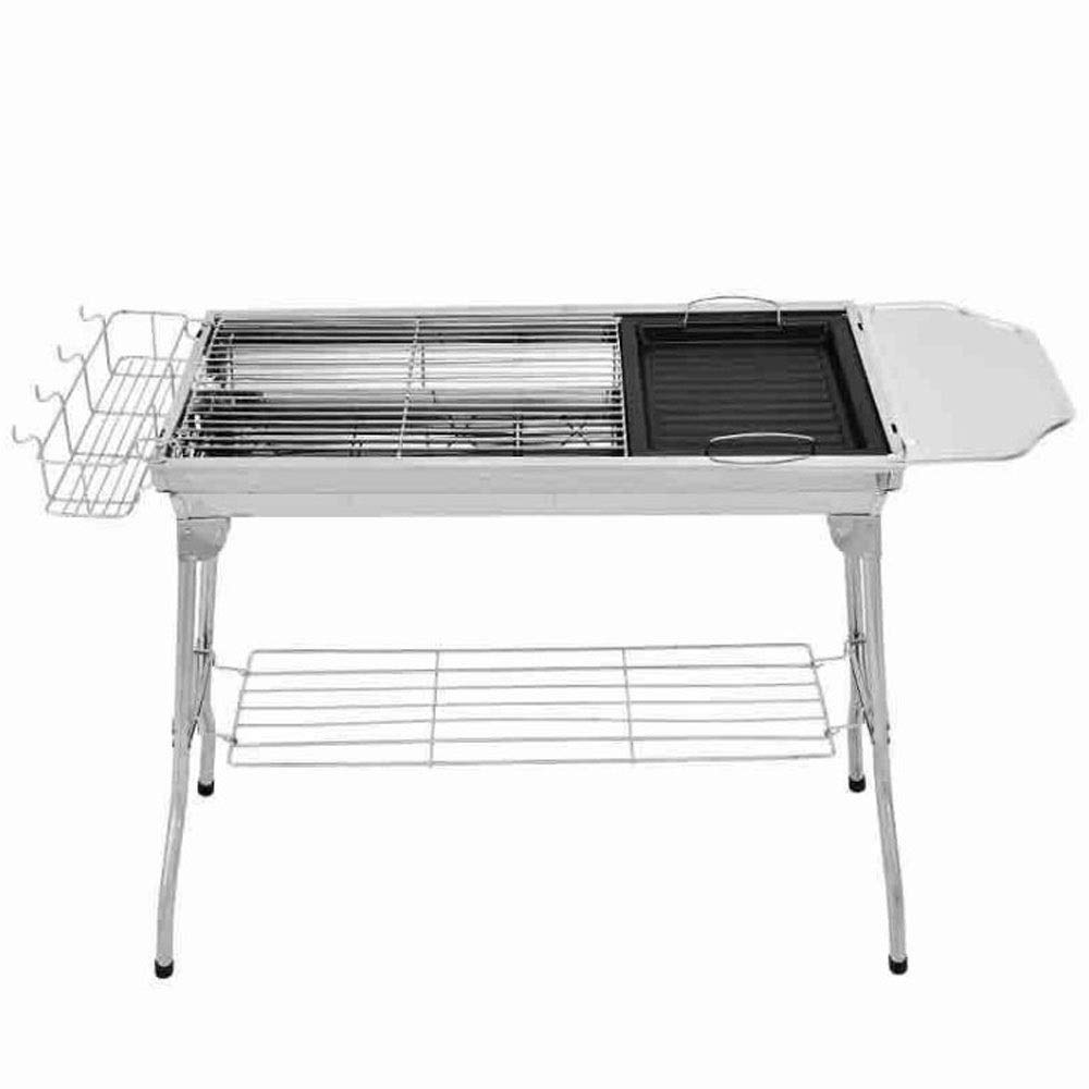 ZCF Easy Disassembly Portable Charcoal Barbecue Rack Stainless Steel Folding BBQ Grills Outdoor Camping BBQ Accessories for 5-15 (Size : B)