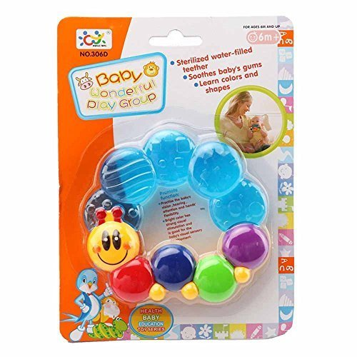 Wishtime Baby First Soothing Teether Toys - Baby Silicon Smoothing Teething Toys Caterpillar Links Water Filled Soft Chilled Teether for Baby, Infant, Newborn, BPAFree (Water Teether Infant Filled)