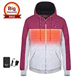 OUTCOOL Women's Cordless Heated Hoodie Kit Color Matching Design Full-Zip Hooded Fleece Sweatshirt(M)