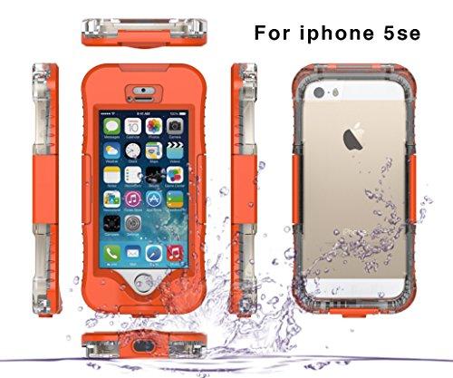 iPhone 5SE 5S 5 Schutzhülle, Moonmini® Unterwasser Hülle Case Bumper Wasserdicht Stoßfest hülle für Apple iPhone 5SE 5S 5, Orange