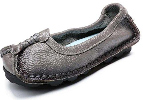 Mujeres Nacional de 35 41 Hechos Mano de Viento Zapatos Gris Otoño Primavera Zapatos de Zapatos y Tamaño de Planos Cuero de a Madre Originales Las Zapatos vtxAqw