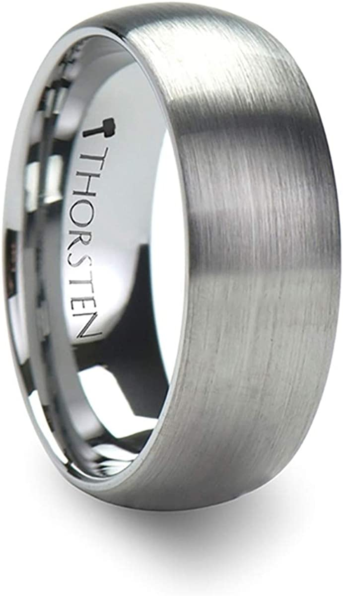 Thorsten Perseus | Tungsten Rings for Men | Tungsten | Comfort Fit | Wedding Ring Band with Plain Domed Matte Brushed Finish - 7mm