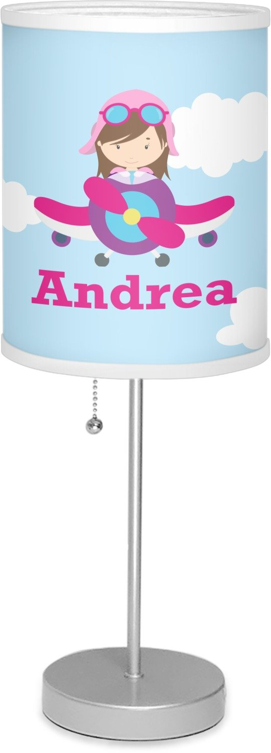 RNK Shops Airplane & Girl Pilot 7'' Drum Lamp with Shade Linen (Personalized)