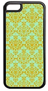 Floral Damask Pattern-Gold/Green Case for the APPLE IPHONE 5, 6 4.7-NOT THE 4/4s!!!-Hard Black Plastic Outer Case with Tough Black Rubber Lining