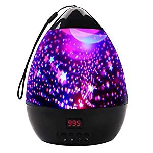 JOKBEN Star Projector, Baby Night Light with Christmas Pattern 360 Degree Rotating Cosmos Star Projector Soothing Aurora LED Night Light with USB Cable, Timer Auto-Shut, 8 Lighting Modes (Star)