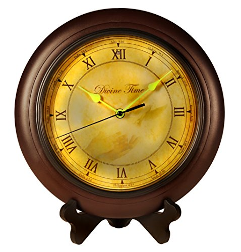 Day Mantle Clock (Divine Time Scripture Wall Clock, Bible Verse Reading Time Piece, Glow In The Dark Hands for Kids and Adults, Clock with Stand, Spanish/English, Battery Operated Easy to Install for Home and Office)