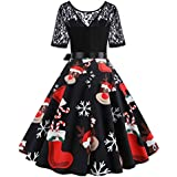 Holywin Women Vintage Casual Summer Floral Print V-Neck Short Sleeve Dress Mini Dress