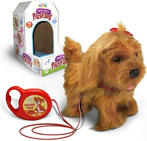 Kids Walking and Barking Puppy Dog Toy PetRemote Control Leash (Beige)