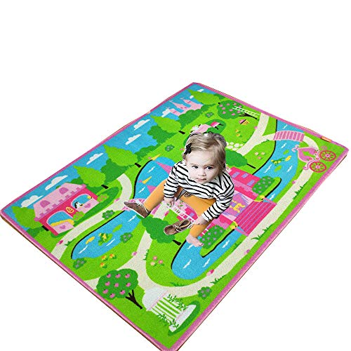 Abreeze Cartoon Castle Girls Bedroom Rugs,Delicate Little Flowers Bedroom Floor Rugs,Cute Colorful Cartoon Kids Living Room ()