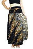 Banjamath@ Women's Long Bohemian Style Gypsy Boho Hippie Skirt (S, Peacock Black)