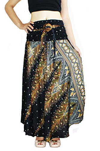 Skirt Wrap Indian - Banjamath@ Women's Long Bohemian Style Gypsy Boho Hippie Skirt (L, Peacock Black)