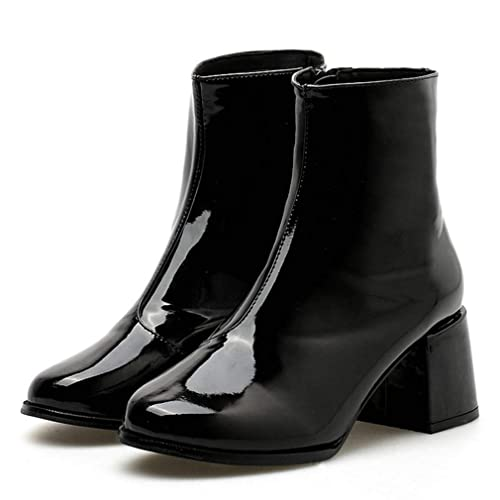 fa8e378ee2e Amazon.com | T-JULY Patent Leather Boots Ladies Shoes Sexy Pointed ...