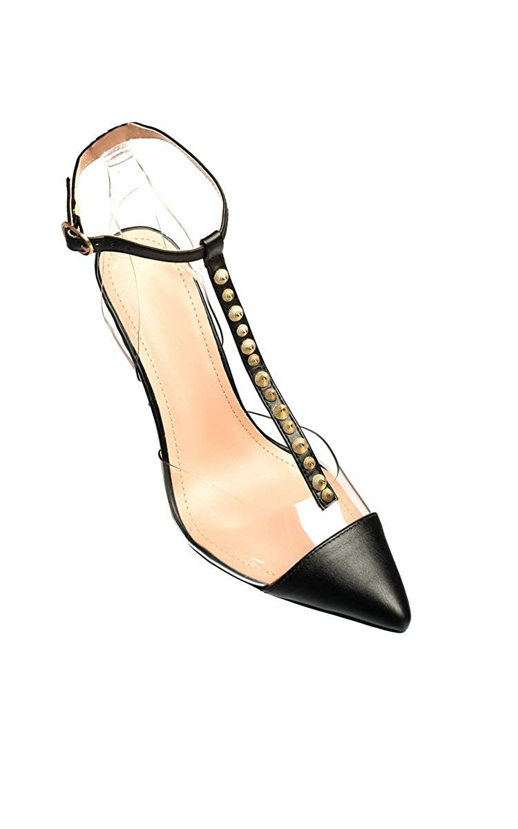 108a9632d73 Ikrush Womens Tiffany Studded Perspex Court Heels Black UK 7  Amazon.co.uk  Shoes    Bags