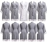 PROGULOVER Set Of 7-10 Women's Imitation Cotton Wedding Robes For Bride and Bridesmaid Wedding Party Kimono Robes Short