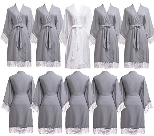PROGULOVER Set Of 7-10 Women's Imitation Cotton Wedding Robes For Bride and Bridesmaid Wedding Party Kimono Robes Short by PROGULOVER
