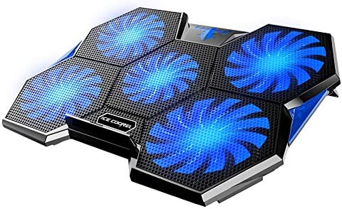ICE COOREL Laptop Cooling Pad for Gaming, Laptop Cooler Fan 15.6-17 inch, 5 Quiet Big Cooling Fans, Fast Heat Dissipation and Adjustable The Wind Speed in Two Modes, Dual USB 2.0 Ports