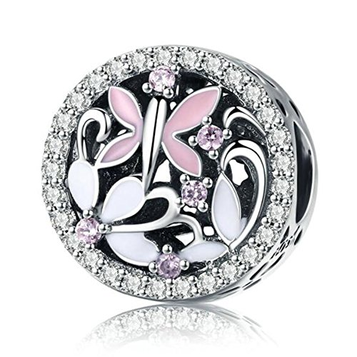 (Eternalll Orchid Charms 100% 925 Sterling Silver Pink Enamel Flower Dragonfly Love Heart Bead Charms European Bead fit Pandora Bracelets Beads Crystal Jewelry (Y Charme))