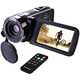 Camcorder,Hausbell 302S Remote Control Camcorder, FHD Infrared Night Vision 1080p 24 MP Digital Camcorder Video Camera with 3.0 LCD, Touch Screen and HDMI Output (Black)
