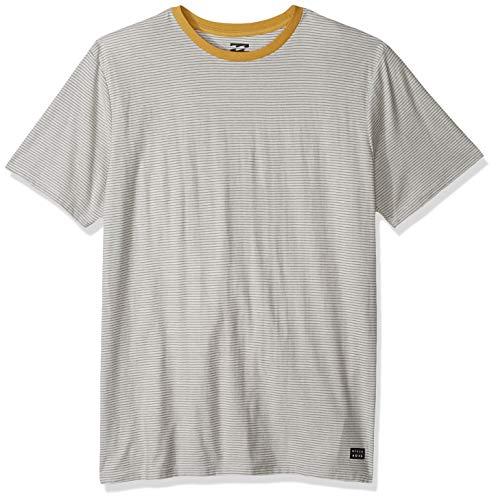 Billabong Men's Die Cut Stripe Short Sleeve Crew Shirt Light Grey Small
