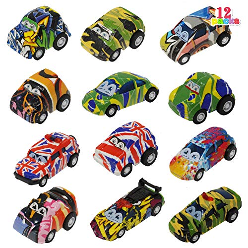 JOYIN 12 Piece Pretend Play Pull Back Model Car, Friction Powered Die-Cast Cars Vehicle Set for Toddlers, Boys, and Girls' Education Play