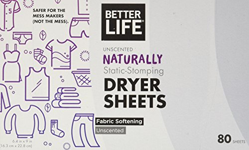 Better Life Natural Dryer Sheets, Unscented, 80 Count (Dryer Sheets Subscribe)