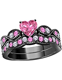 Women's 14k Gold Plated Alloy White/Yellow/Rose/Black 6MM Heart Cut Created Pink-Sapphire & Cubic Zirconia Milgrain Weave Ring Wedding Band Engagement Ring Bridal Sets Sizes 4-11