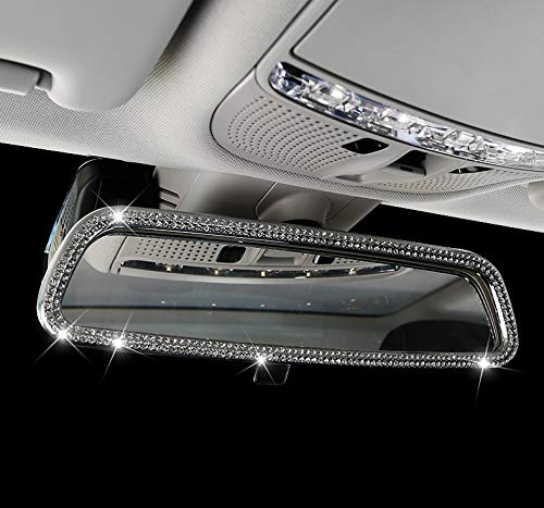 Boobo Ice Out Interior Rear View Mirror Cover Frame Badge Bling Insert Emblem with Genuine Austrian Crystal Insert for Mercedes Benz GLC300 GLC350 GLC63 New GLC-Class (Silver)