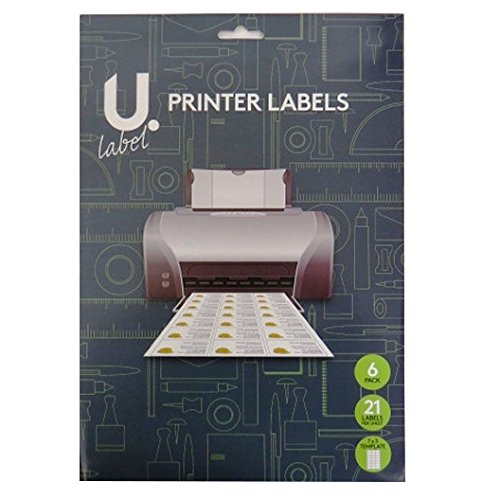 Labels 1.5' Laser (U Label, Printer Labels, 21 Labels per Sheet - 6 Sheets, Label Size 2.5' x 1.5')
