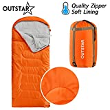 OUTSTAR Lightweight Waterproof Envelope Sleeping Bag With Compression Sack for Kids or Adults Outdoor Camping, Travelling, Hiking & Backpacking (Red, Envelope)