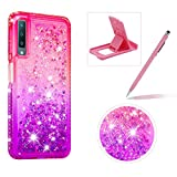 Liquid Clear Case for Galaxy A7 2018,Soft TPU Cover for Galaxy A7 2018,Herzzer Luxury Creative Pink Purple Gradient Color Love Hearts Quicksand Flexible Crystal Case with Diamond Frame