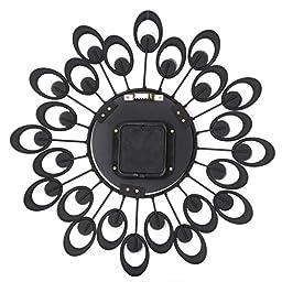 Transer 3D Wall Clock Diamonds Non-Ticking Silent Dazzling Metal Wall Clock (Black)