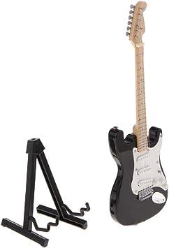 FLAMEER Modelo Guitarra Eléctrica de Madera Miniatura Soporte de ...