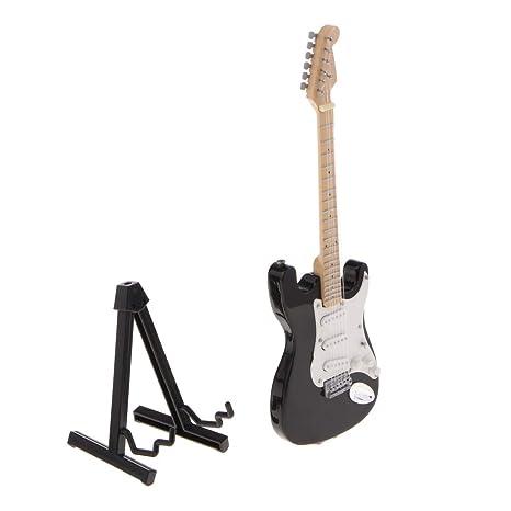 FLAMEER Modelo Guitarra Eléctrica de Madera Miniatura Soporte de Instrumentos Musicales de 17 Cm