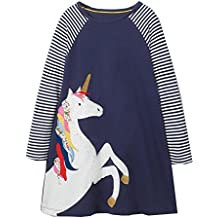 IsabelaKids Girls Cotton Long Sleeve Casual Cartoon Appliques Striped Jersey Dresses