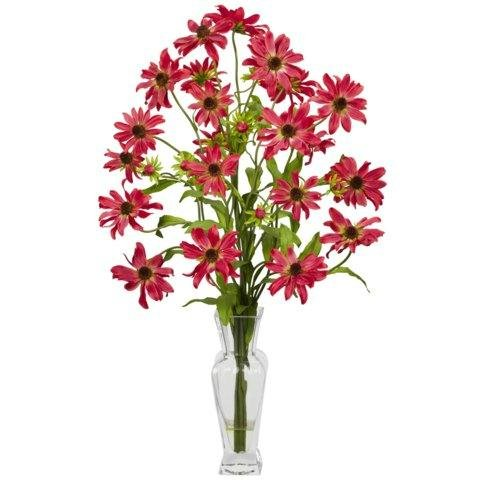 Exclusive By Nearly Natural Red Cosmos w/Vase Silk Flower Arrangement