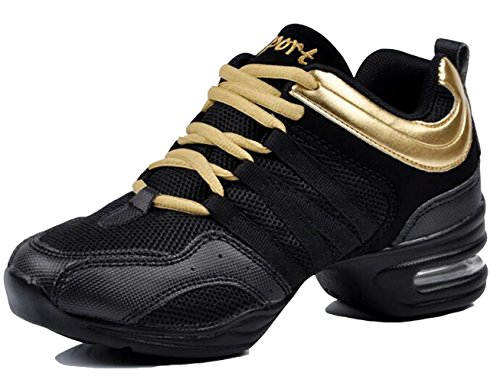 GFONE Womens Breathable Mesh Air Lace Up Plaform Trainers Jazz & Modern Dance Shoes Lightweight Size 3.5-8 BlackGold EXzomJBJC