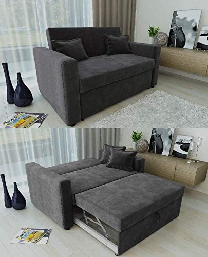 Ravena 2 Seater Sofabed in 4 Colours Pull Out Drawer Sofa with Matching Cushions (Charcoal)