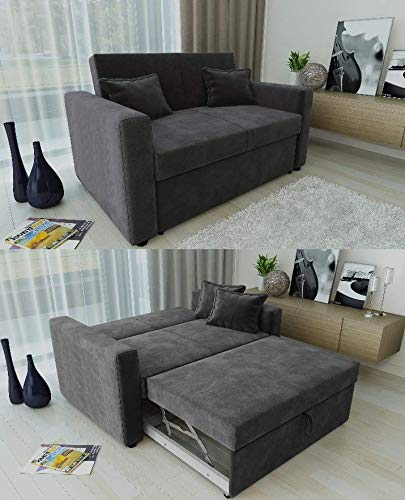 Fabulous Ravena 2 Seater Sofabed In Charcoal Pull Out Drawer Sofa With Matching Cushions Home Interior And Landscaping Pimpapssignezvosmurscom
