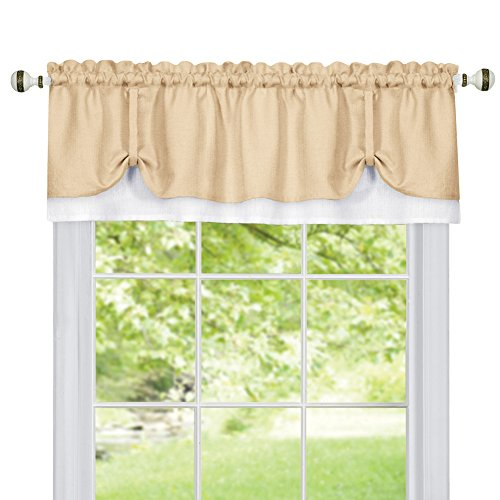Collections Etc Darcy Two-Tone Rod Pocket Window Curtain Valance with Pick-Up Accents, Home Décor for Any Room, Beige ()