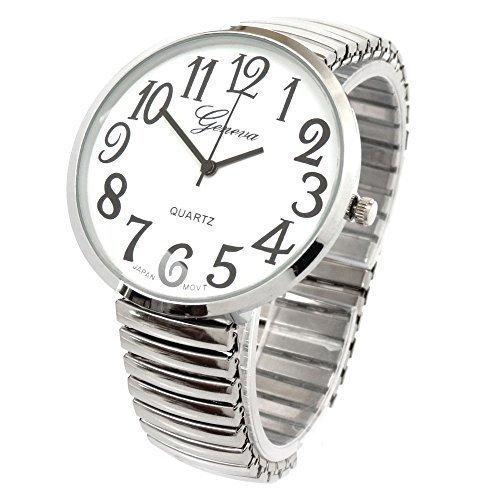 (Silver Super Large Face Stretch Band Fashion Watch)