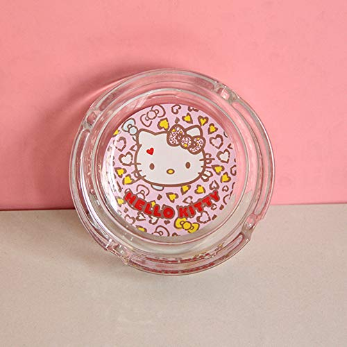lo Kitty Glass Round Car Cigarette Ashtray Holder for Home (Color5) ()