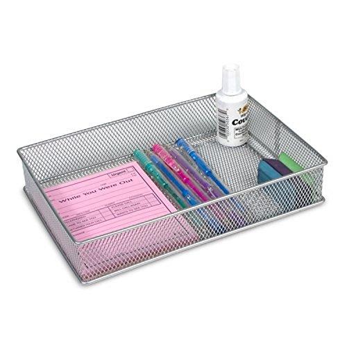 Ybm Home Silver Mesh Drawer Cabinet and or Shelf Organizer Bins, School Supply Holder Office Desktop Organizer Basket 1590 (6x9)