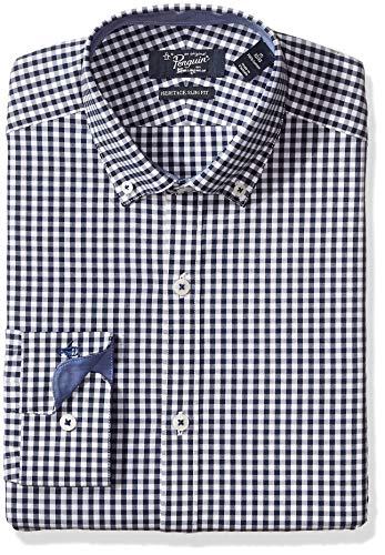 Original Penguin Men's Essential Slim Fit Button Down Collar Dress Shirt, Navy Gingham 15 32/33 (Dress Navy Gingham)